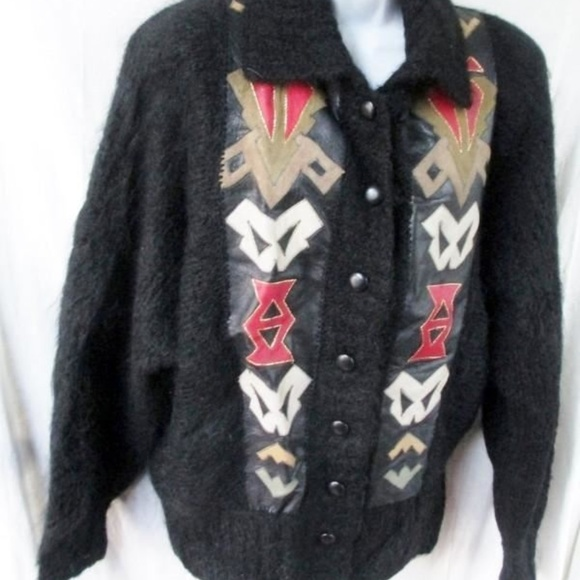 Jackets & Blazers - Womens Southwest Leather Knit Ethnic MOHAIR Jacket